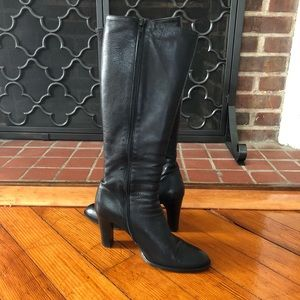 J. Crew Black Leather Knee High Boots, Size 8